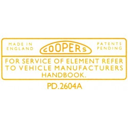 Coopers Air Filter Box Sticker  LMG1044