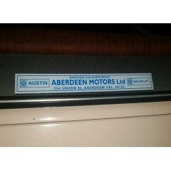 Aberdeen Motors Austin Wolseley Ltd Replica British Leyland Window Sticker
