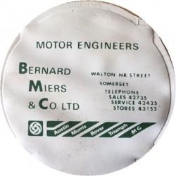 Bernard Miers & Co Austin Morris Rover Triumph MG Walton Street Somerset Replica Tax Disc Holder
