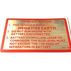 British Leyland Negative Earth Sticker