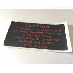 MGB Caution - Heater - Label