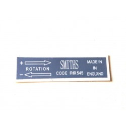 Smiths Heater Blower Sticker FHR545 ST128
