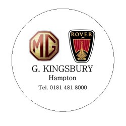 G. Kingsbury MG Rover Replica Tax Disc Holder