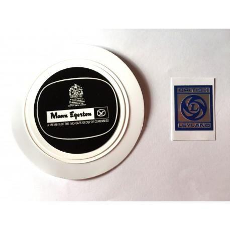 British Leyland Rocker Cover Sticker and Mann Egerton Tax Disc Holder