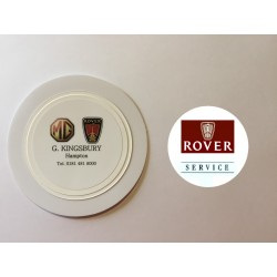Rover Service Window Sticker and G. Kingsbury Rover Hampton Tax Disc Holder