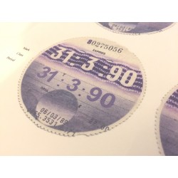 Blank July 1990 Tax Disc x6
