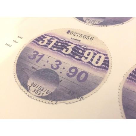 Blank August 1990 Tax Disc x6