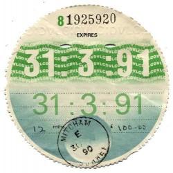 Blank March 1991 Tax Disc x6