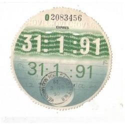 Blank May 1991 Tax Disc x6
