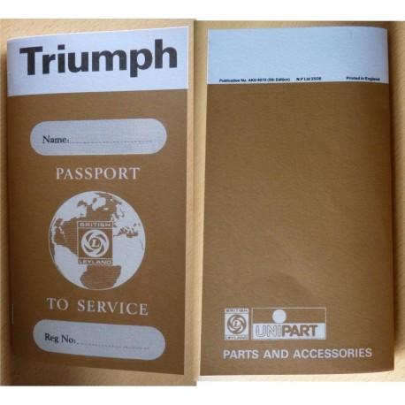 British Leyland Triumph Replica Passport to Service Book