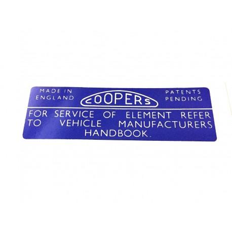 MGB Coopers Air Filter Box Sticker CAFBS2 LB X2